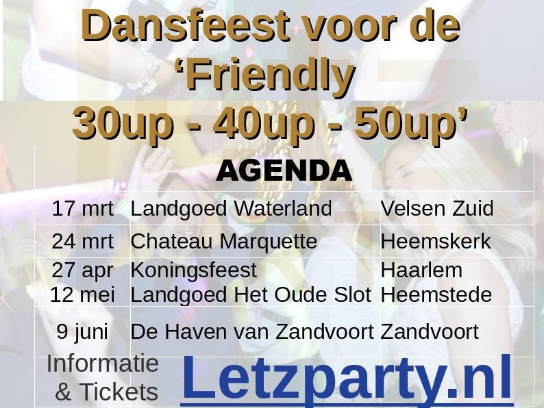 20 januari: Elswout Twee party areas DJ Henri (Upbeat) & DJ Charly (60s 70s 80s)